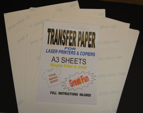 10x A3 Laser & Photocopieur T-shirt Thermique Transfert Feuilles