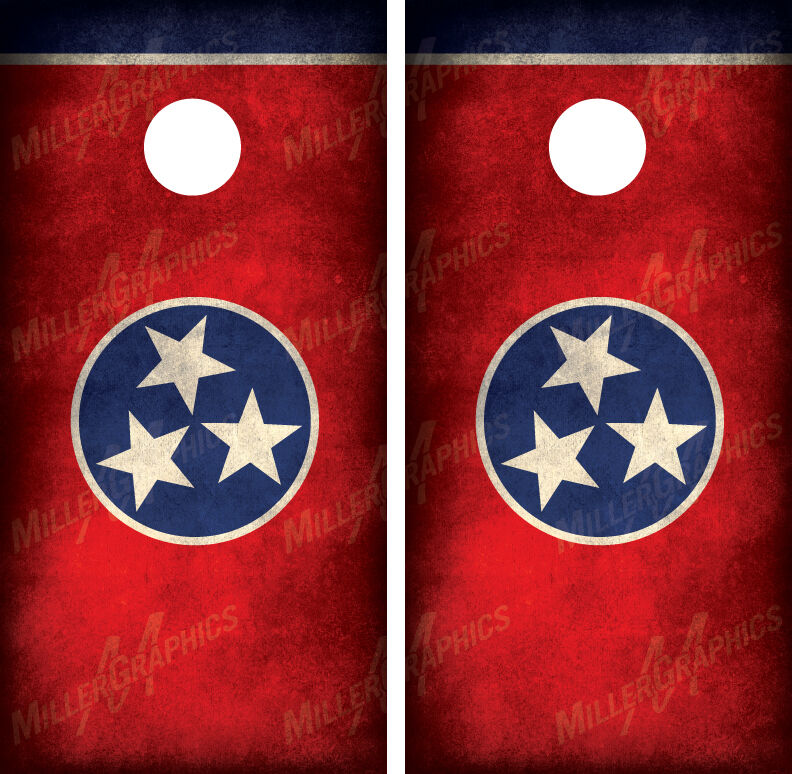 Tennessee Flag Distressed Grunge Cornhole Board Wraps Decals Graphics
