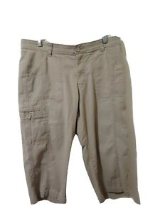 Lee Sinfully Soft Womens Size 14 Khaki Bermuda Shorts Zipup Pockets Stretch