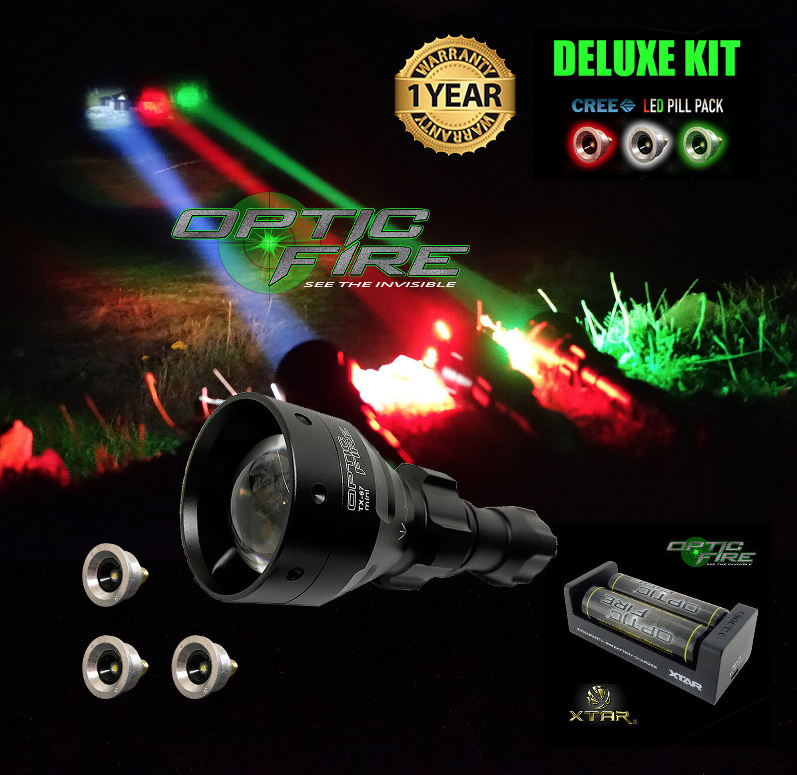 Opticfire® TX-67 T67 mini Deluxe Supreme LED hunting torch gun light lamp kit NV