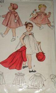 Vintage 50s Simplicity 3807 Girls Dress, Coat & Hat Bonnet Pattern sz 2