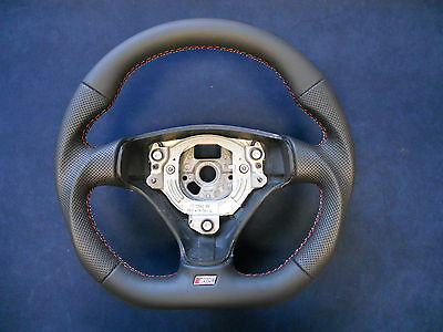 SMALL 370mm!!! Steering Wheel AUDI A3 8P0 A4 B6 A6 C5 S3 Flat Bottom Leather