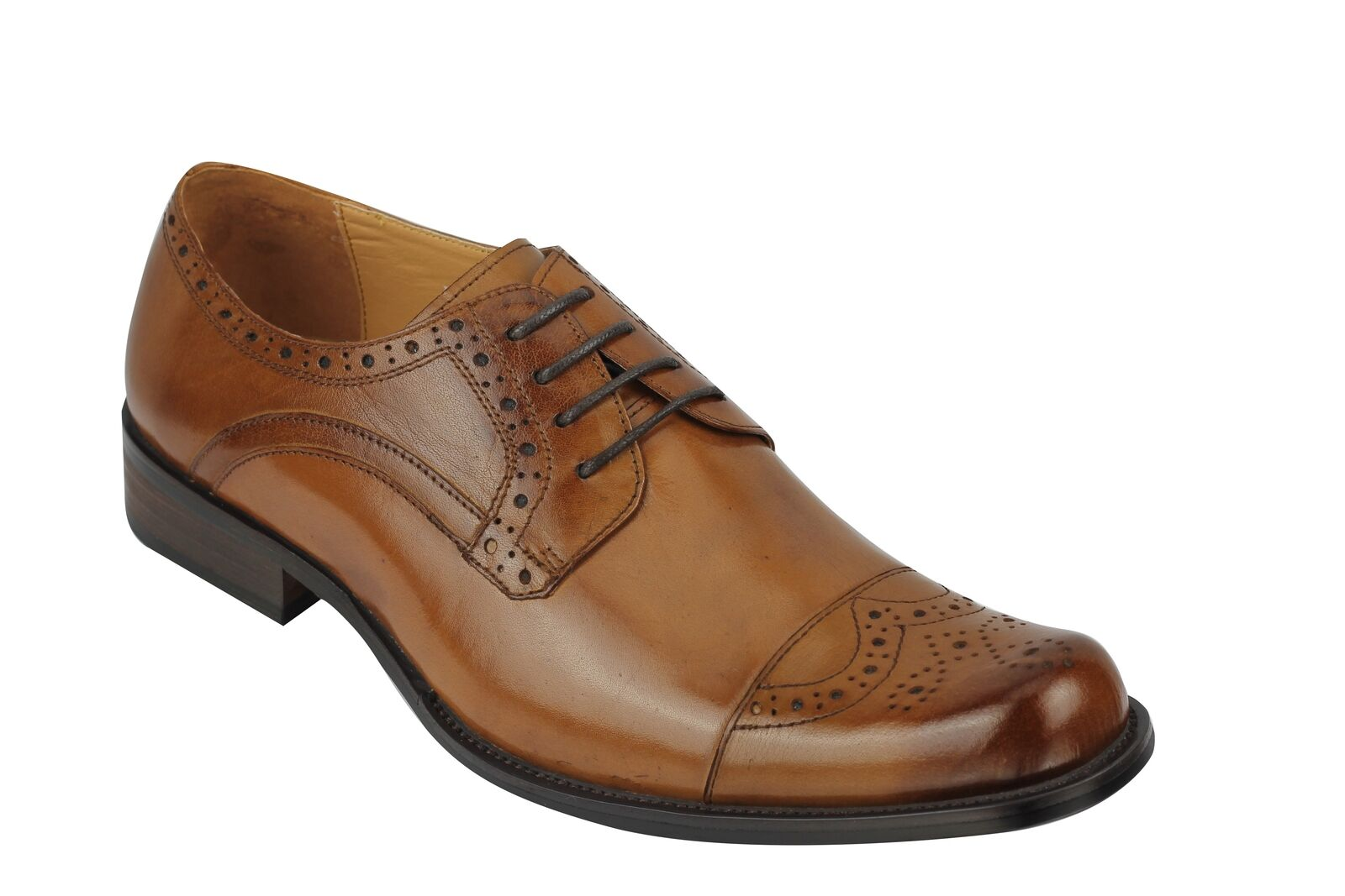 New Mens Vintage Polished Real Leather Tan Lace up shoes Smart Formal Brogue