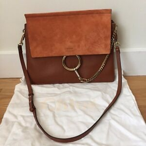 3157f89486e4e Chloé Faye shoulder bag in smooth calfskin & suede calfskin Tobacco ...