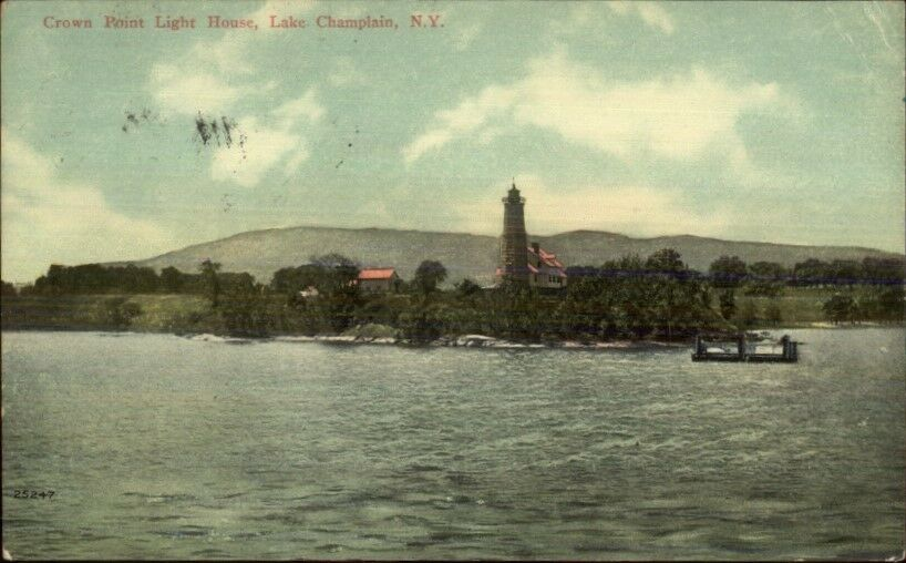 Lake Champlain NY Crown Point Lighthouse c1910 Postcard #2