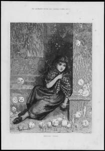 1881-FINE-ART-Antique-Print-NELLIES-DREAM-Young-Poor-Girl-Vegetables-154