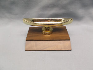 "cast metal canoe trophy large solid walnut base 5"" wide x 2 1/2"" tall"