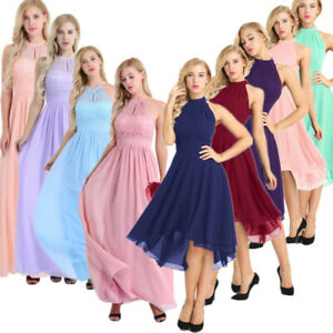 Women-Halter-Lace-Prom-Formal-Evening-Cocktail-Party-Bridesmaid-Gowns-Full-Dress