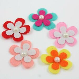 COLOURFUL-GLUE-or-SEW-ON-FELT-FLOWER-EMBELLISHEMENTS-2-SIZES-MIXED-COLOURS
