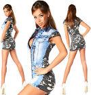 SEXY NEUF pour femmes jeans armée JEAN JEANS MINI ROBE DOUBLE LOOK G 864