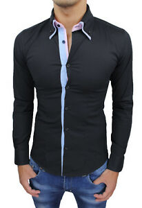 CAMICIA-UOMO-DIAMOND-CLASS-NERA-SLIM-FIT-COTONE-BUTTON-DOWN-CASUAL-ELEGANTE