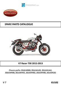 moto guzzi parts manual book 2012 2013 v7 racer 750 ebay rh ebay ie moto guzzi v7 configuration moto guzzi v7 configuration