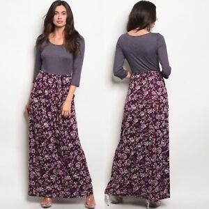NWT-Medium-Women-s-Floral-Maxi-Dress-Fall-Boutique-Top