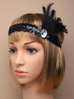 Feather 1920/'s Charleston HEADBAND SEQUIN STRETCH BROW BANDS FANCY DRESS 20s UK