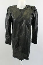 NEW GROWNBEANS Black Perforated Leather Long Sleeve Shift Dress Sz M