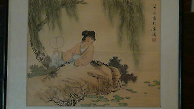 """Home decor Chinese silk scroll painting Pond funny painting /""""荷塘情趣/"""" decoration"""