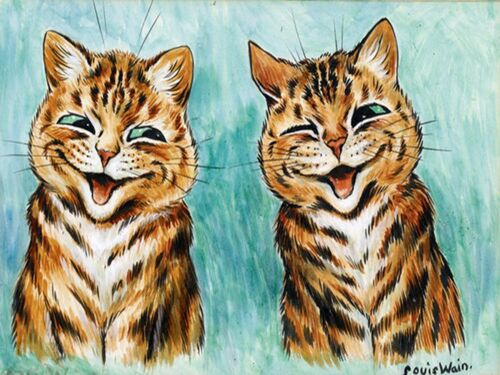 Two cats Accent Tile Mural Kitchen Bathroom Wall Backsplash Ceramic 8x6