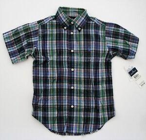 NWT-Ralph-Lauren-Boys-Short-Sleeve-Navy-Plaid-Button-Down-Shirt-Sz-4-6-NEW-35