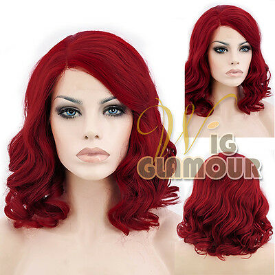 """Medium Curly 14"""" Red Lace Front Wig Heat Resistant"""