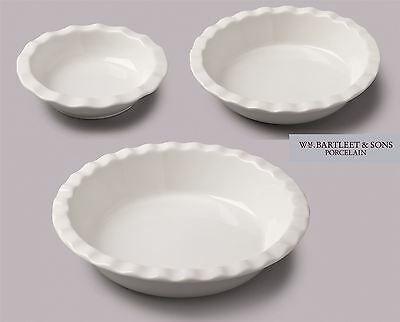 WM Bartleet & Sons Fluted Ceramic Tart Pie Dish 16cm, 20cm and 27cm
