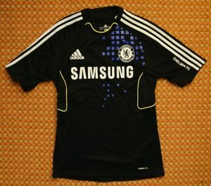 Details about Chelsea FC, Training, Leisure Black Blue Shirt by Adidas, Mens Small 38/40