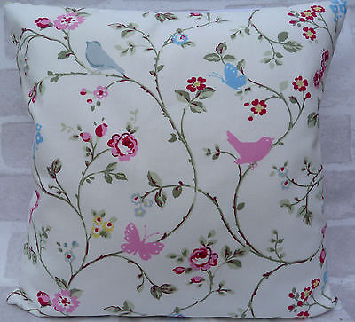 "Clarke and Clarke Vintage Bird Trail White cushion cover 16"" or 18"""
