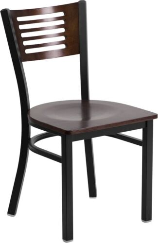 10 PACK Slat Back Metal Restaurant Chair with Walnut Wood Back and Seat