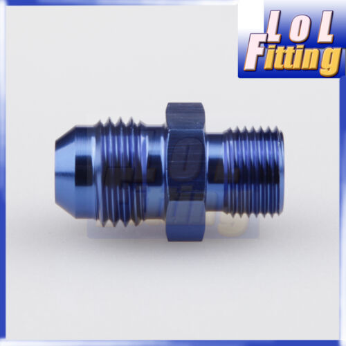 6 AN6 Blue Flare To M16 x 1.5 Metric Straight Hose Fitting Adapter Aluminum AN
