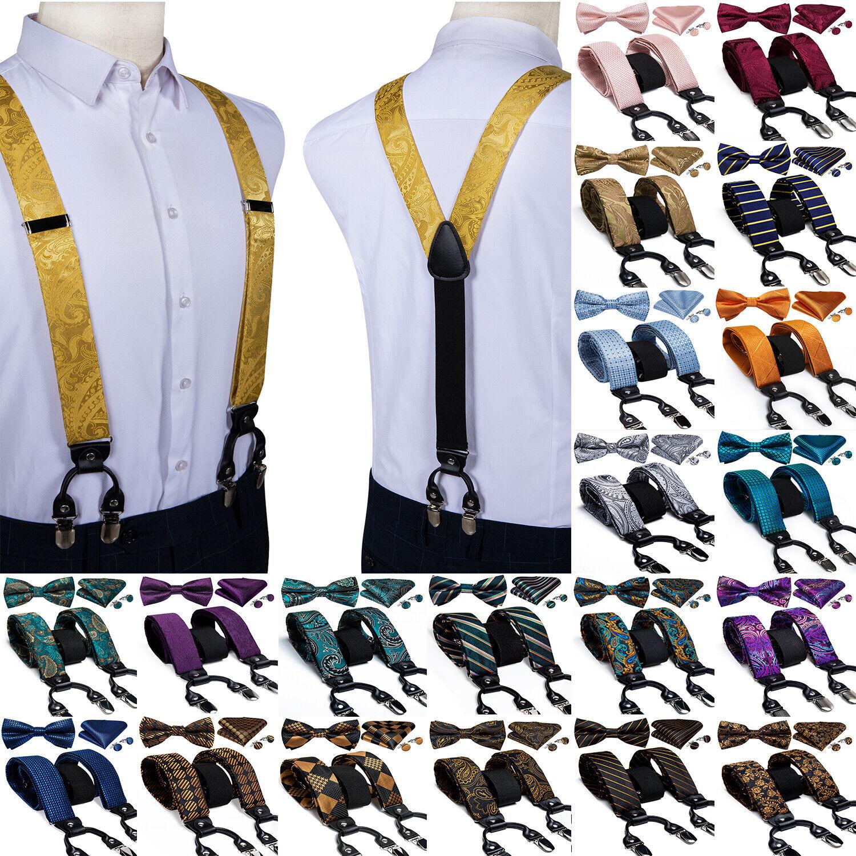 15 Colors Paisley Plaid Mens Suspenders 35mm Braces Bow Tie Hanky Cufflinks Set