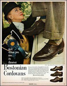 1955 Woman equestrian Bostonian cordovan shoes vintage photo print ad adl81