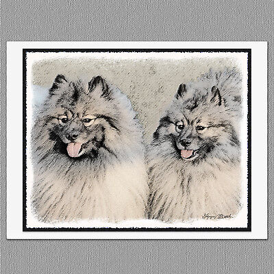 Keeshond Brothers Original Art Print 8x10 Matted to 11x14