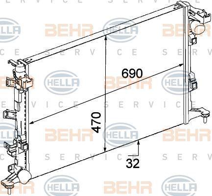 8MK 376 745-711 HELLA Radiator  engine cooling
