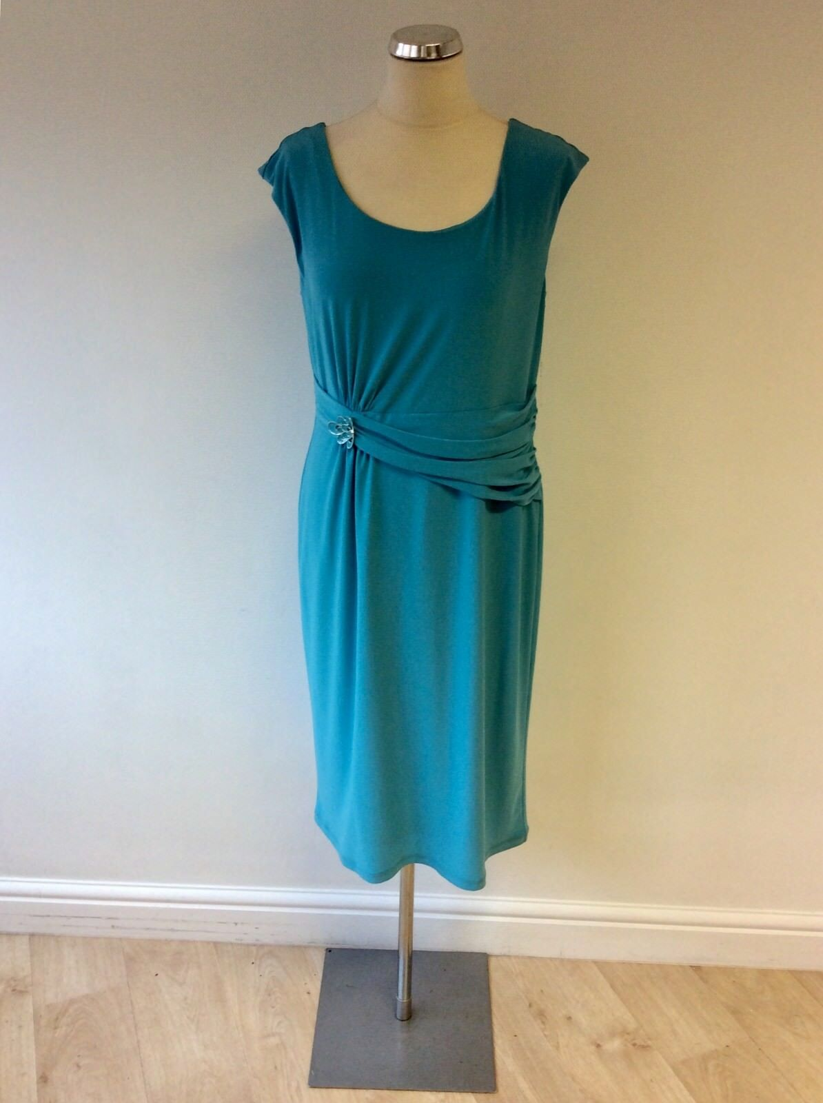 BNWT GINA BACCONI Turquoise Stretch Robe à encolure danseuse Größe 16