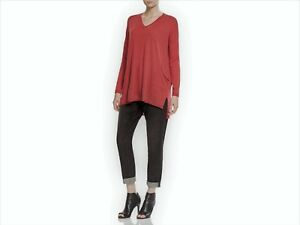 d11ff0d9813 Eileen Fisher V-Neck Tunic Sweater 2X Merino Wool Patch Pockets Red ...