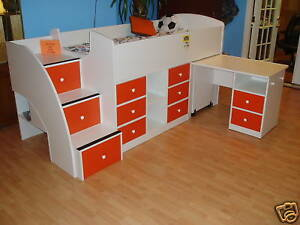 Image Is Loading Kid 039 S Bed And Desk Combo With