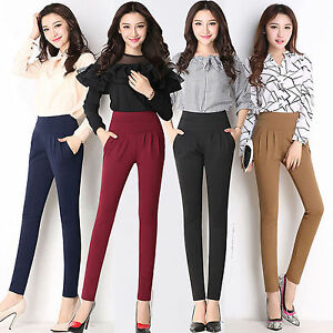 1fa482650f3 Image is loading 2017-Women-Business-Casual-High-Waist-Stretch-Slim-