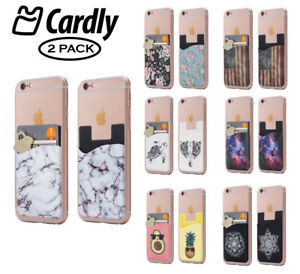 huge discount f8f12 26e1d Details about Two Cell phone stick on wallet card holder phone pocket for  iPhone, Android