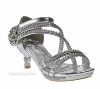 New Pageant Flower Girls Silver Dress Shoes Rhinestones Heels Party Glamour-28K