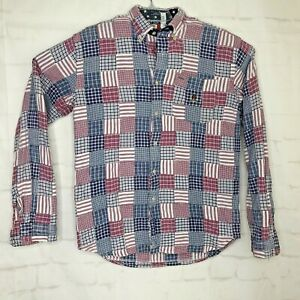 Tommy-Hilfiger-Mens-Multicolored-Long-Sleeve-Button-Small-Patch-Work-Shirt-Sz-XL
