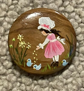 Wooden Studio and Button of a girl with flowers would hand-painted signed