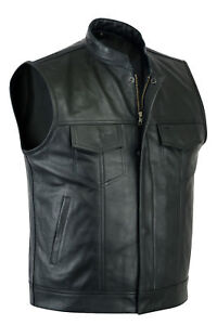 Sons-of-Anarchy-Real-Leather-Mens-Waistcoat-Motorcycle-Biker-Vest-UK-free-P-amp-P
