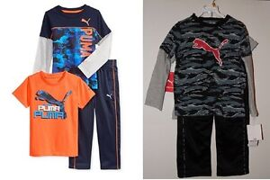 Puma-Toddler-Boys-3pc-Outfits-2-Shirts-amp-Pants-Size-3T-or-4T-NWT