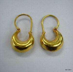 Image Is Loading 22kt Gold Hoop Earrings Earring Pair Vintage Tribal