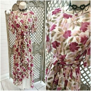 🌹 ADINI 🌹DESIGNER LAGENLOOK SHEER FLORAL FLOATY MAXI COCKTAIL DRESS & SCARF S
