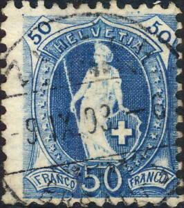SUISSE-SWITZERLAND-SCHWEIZ-Mi-62C-50c-blue-p-11-1-2x11-used-ZURICH-1903