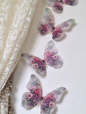 4 Shabby Chic Pansy Viola 3D Butterflies Bedroom Mirror Furniture Decorations