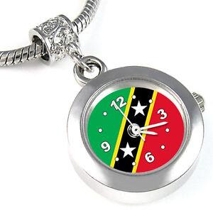 Saint-Kitts-And-Nevis-Flag-Silver-European-Charm-Bead-Watch-For-Bracelet-EBA366