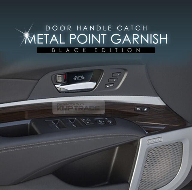 Door Handle Catch Black&Chrome Metal Point Garnish 4Pcs