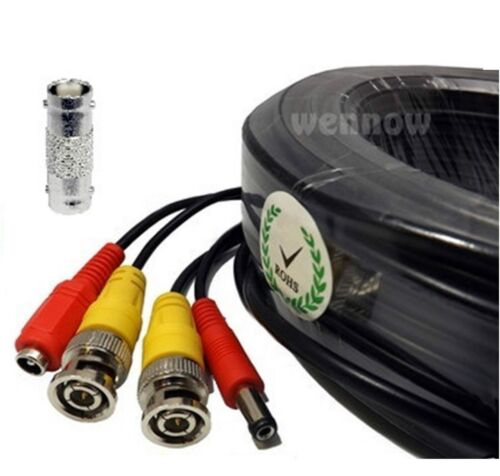 Black 100ft Power /& Video Cable for HD Security CCTV Systems Kit