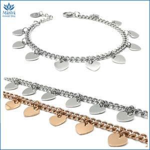 Bracciale da donna braccialetto con cuore in acciaio inox argento maglia catena